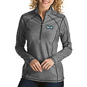Antigua Women's Seattle Seahawks Quick Snap Logo Tempo Grey Quarter-Zip Pullover