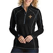 Antigua Women's New Orleans Saints Tempo Black Quarter-Zip Pullover
