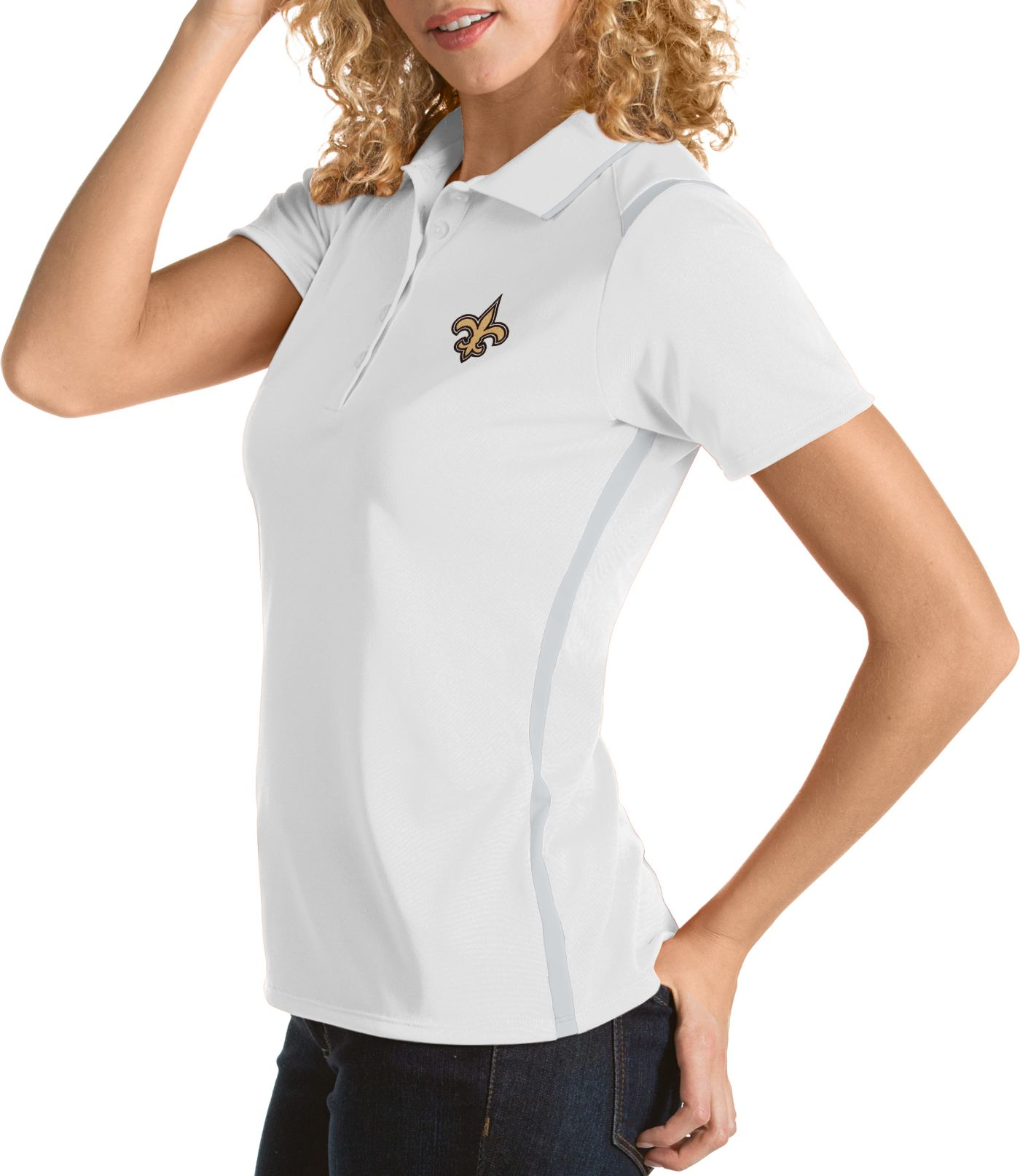 Antigua Women's New Orleans Saints Merit White Xtra-Lite Pique Polo
