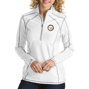 Antigua Women's Pittsburgh Steelers Quick Snap Logo Tempo White Quarter-Zip Pullover