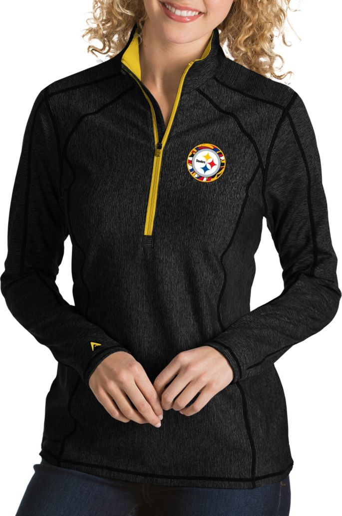 new products 3fd2d d1988 Antigua Women's Pittsburgh Steelers Quick Snap Logo Tempo Black Quarter-Zip  Pullover