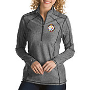 Antigua Women's Pittsburgh Steelers Quick Snap Logo Tempo Grey Quarter-Zip Pullover
