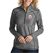 Antigua Women's Pittsburgh Steelers Tempo Grey Quarter-Zip Pullover