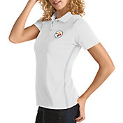 Antigua Women's Pittsburgh Steelers Merit White Xtra-Lite Pique Polo