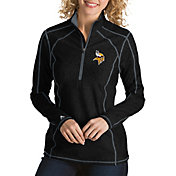Antigua Women's Minnesota Vikings Tempo Black Quarter-Zip Pullover