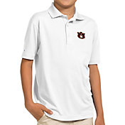 Antigua Youth Auburn Tigers White Pique Polo