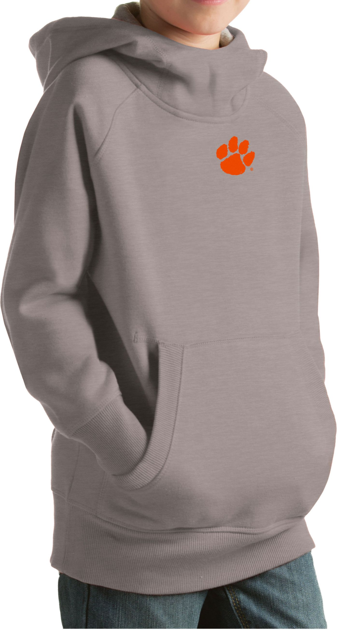 Antigua Youth Clemson Tigers Grey Victory Pullover Hoodie