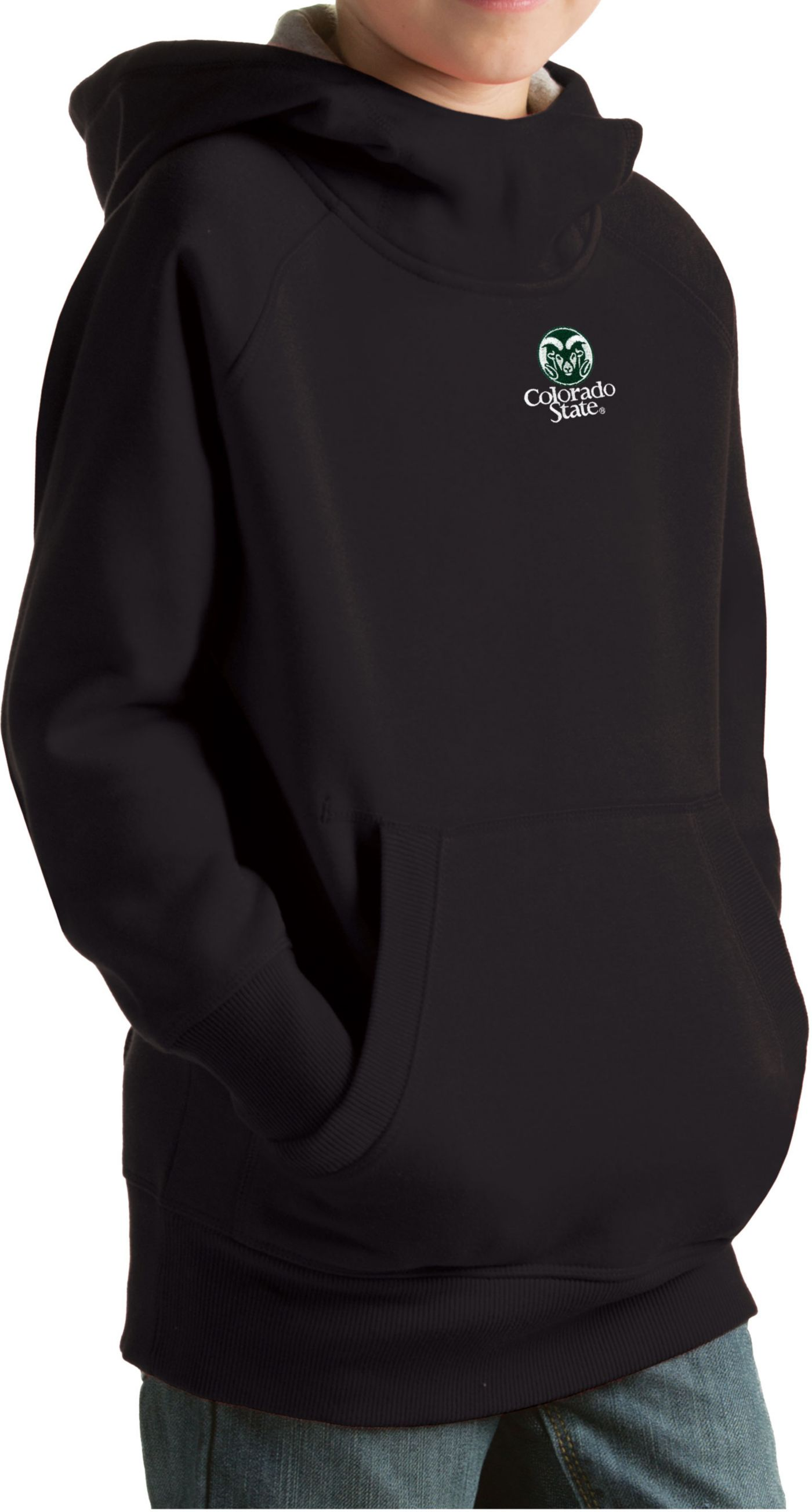 Antigua Youth Colorado State Rams Black Victory Pullover Hoodie