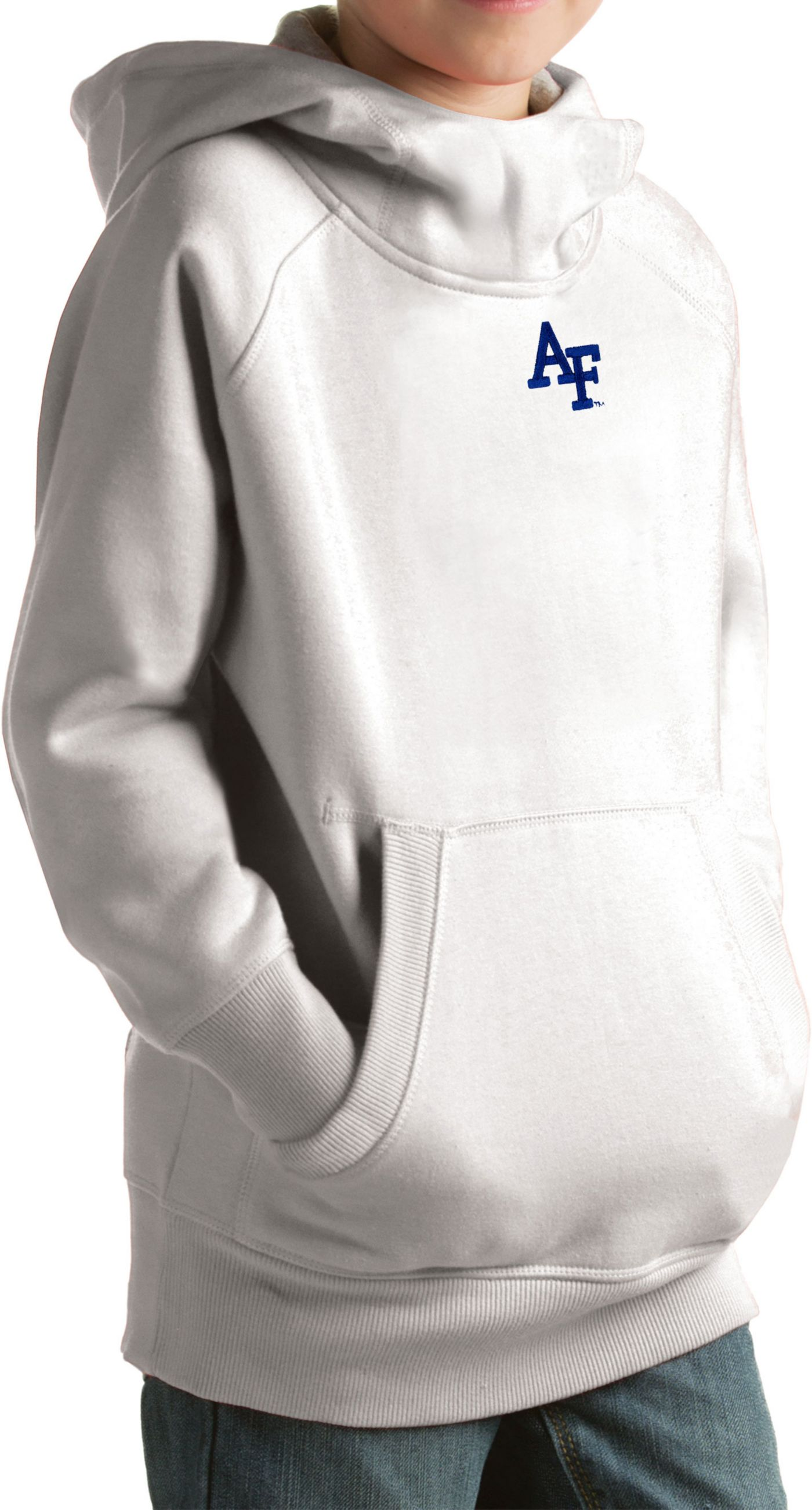 Antigua Youth Air Force Falcons White Victory Pullover Hoodie