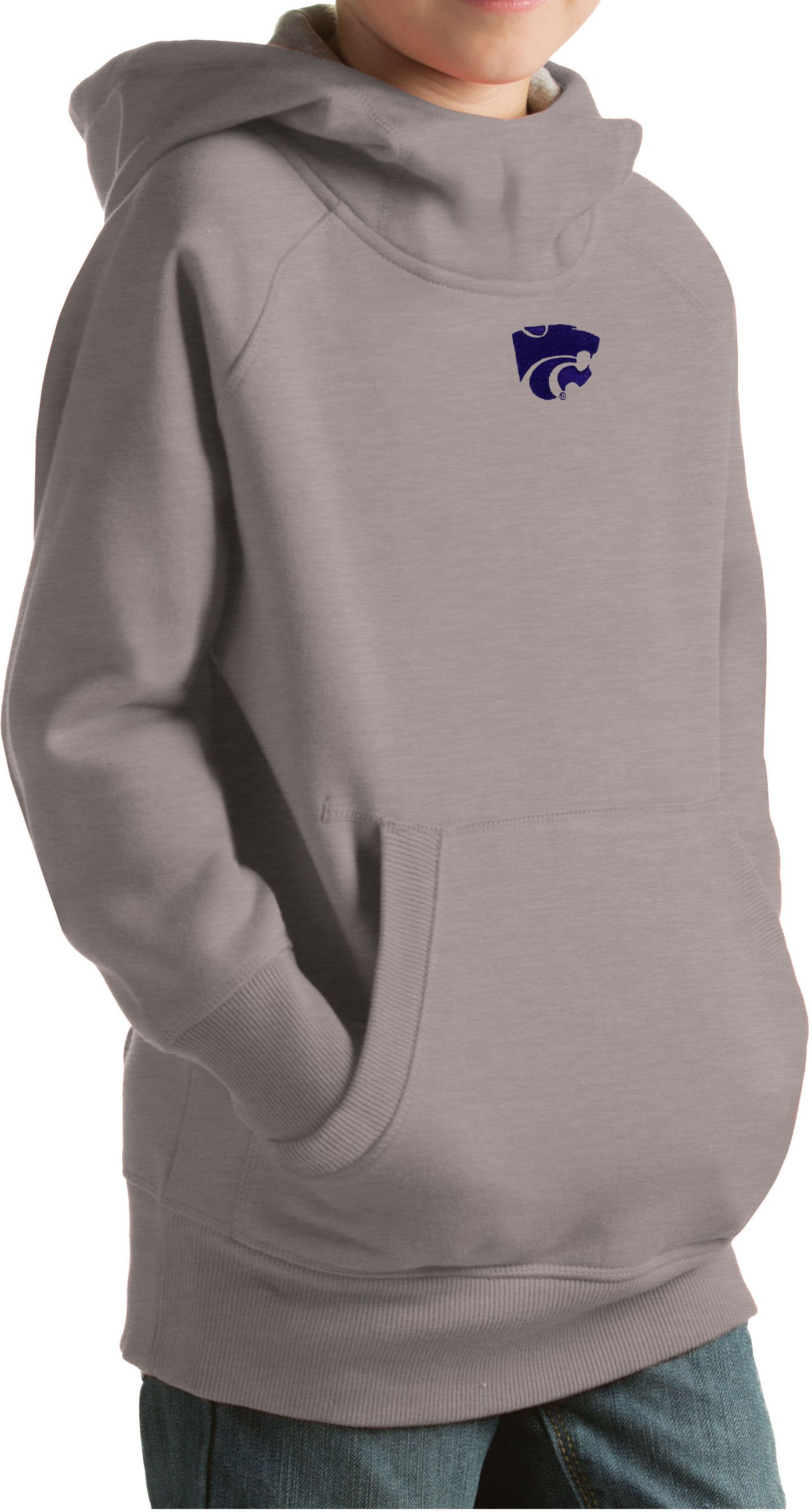Antigua Youth Kansas State Wildcats Grey Victory Pullover Hoodie
