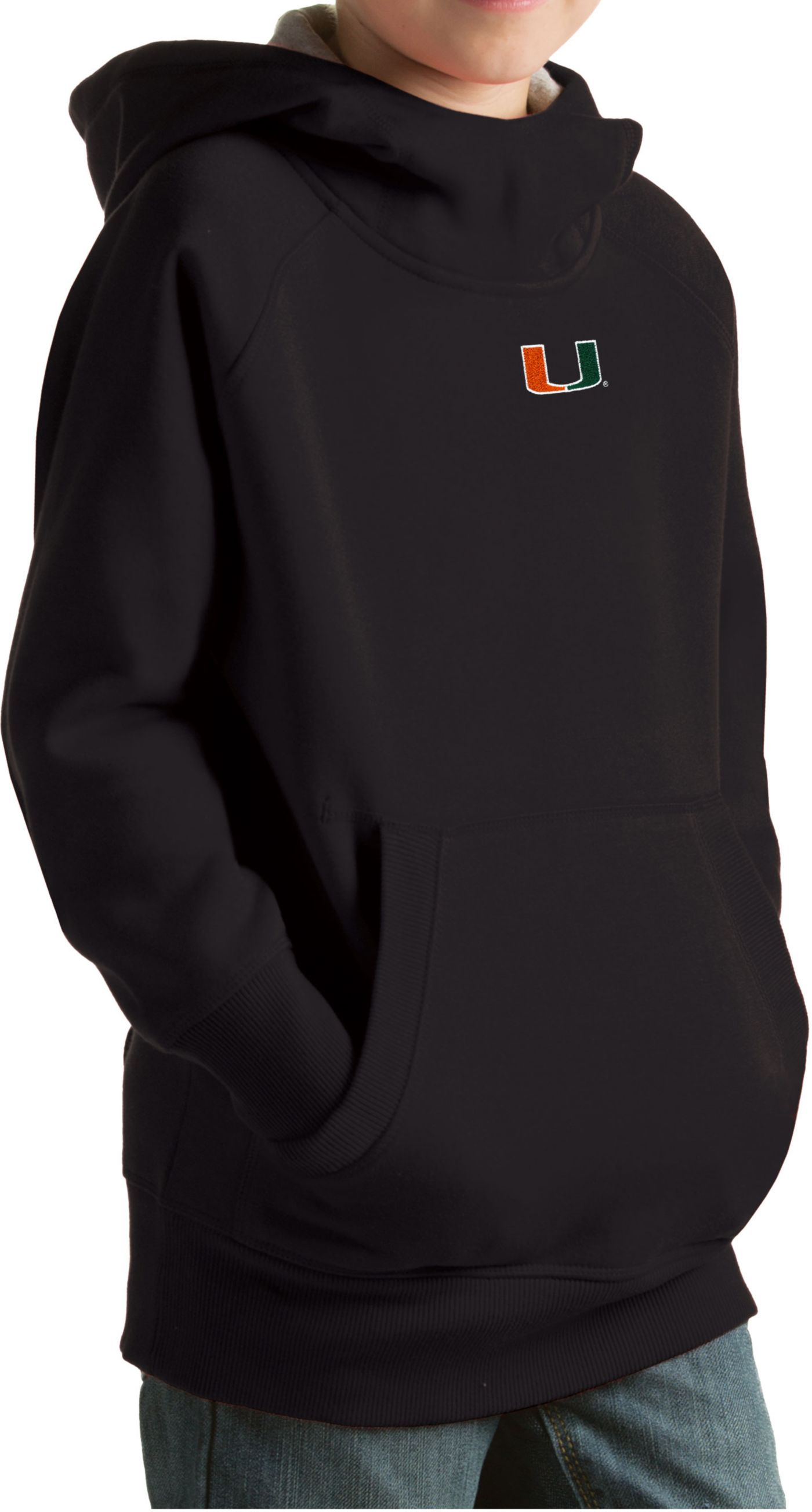 Antigua Youth Miami Hurricanes Black Victory Pullover Hoodie