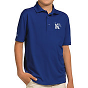 Antigua Youth Memphis Tigers Blue Pique Polo