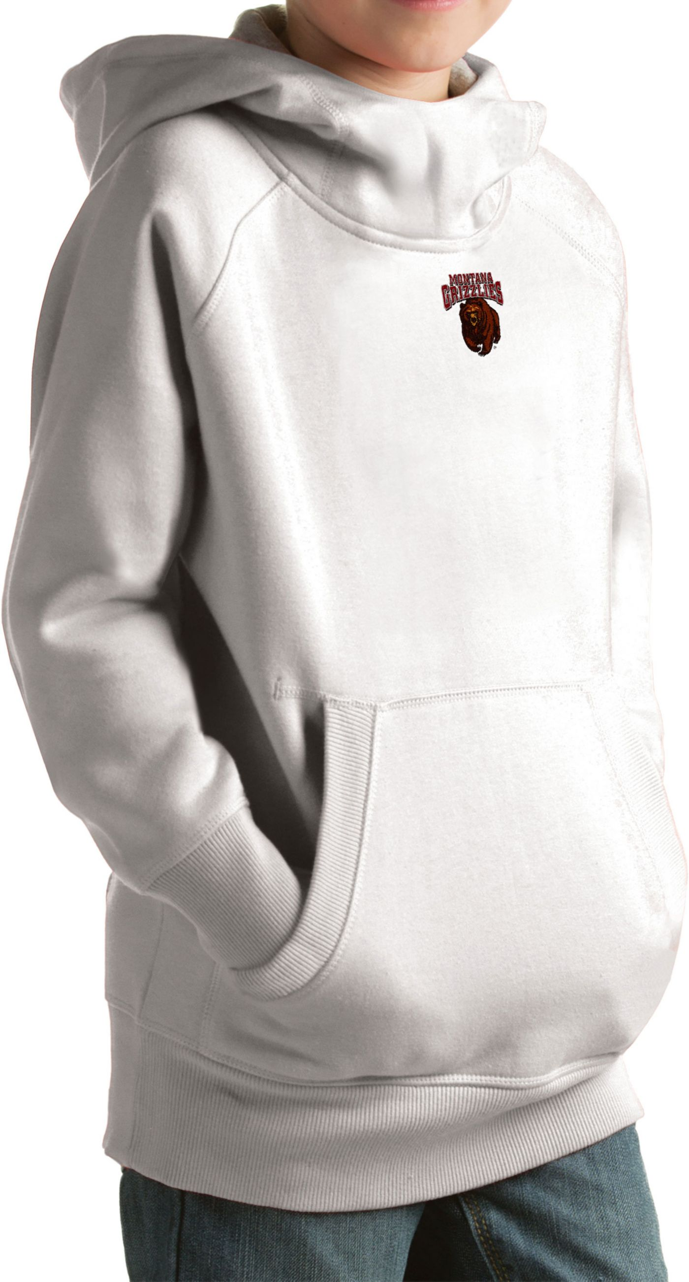 Antigua Youth Montana Grizzlies White Victory Pullover Hoodie