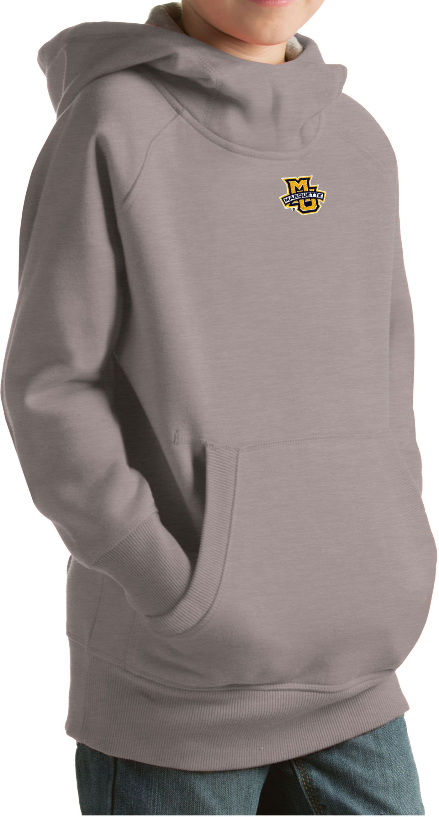 Antigua Youth Marquette Golden Eagles Grey Victory Pullover Hoodie