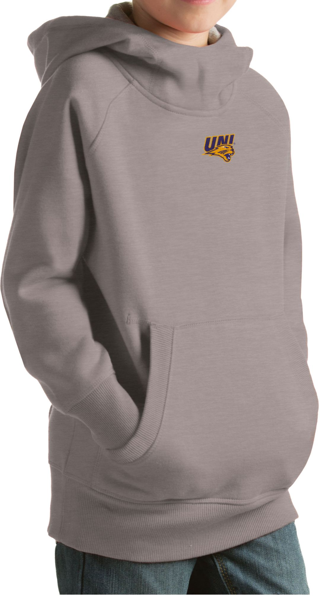 new product 2b7ba 6b6a9 Antigua Youth Northern Iowa Panthers Grey Victory Pullover Hoodie