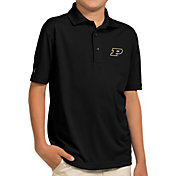 Antigua Youth Purdue Boilermakers Black Pique Polo