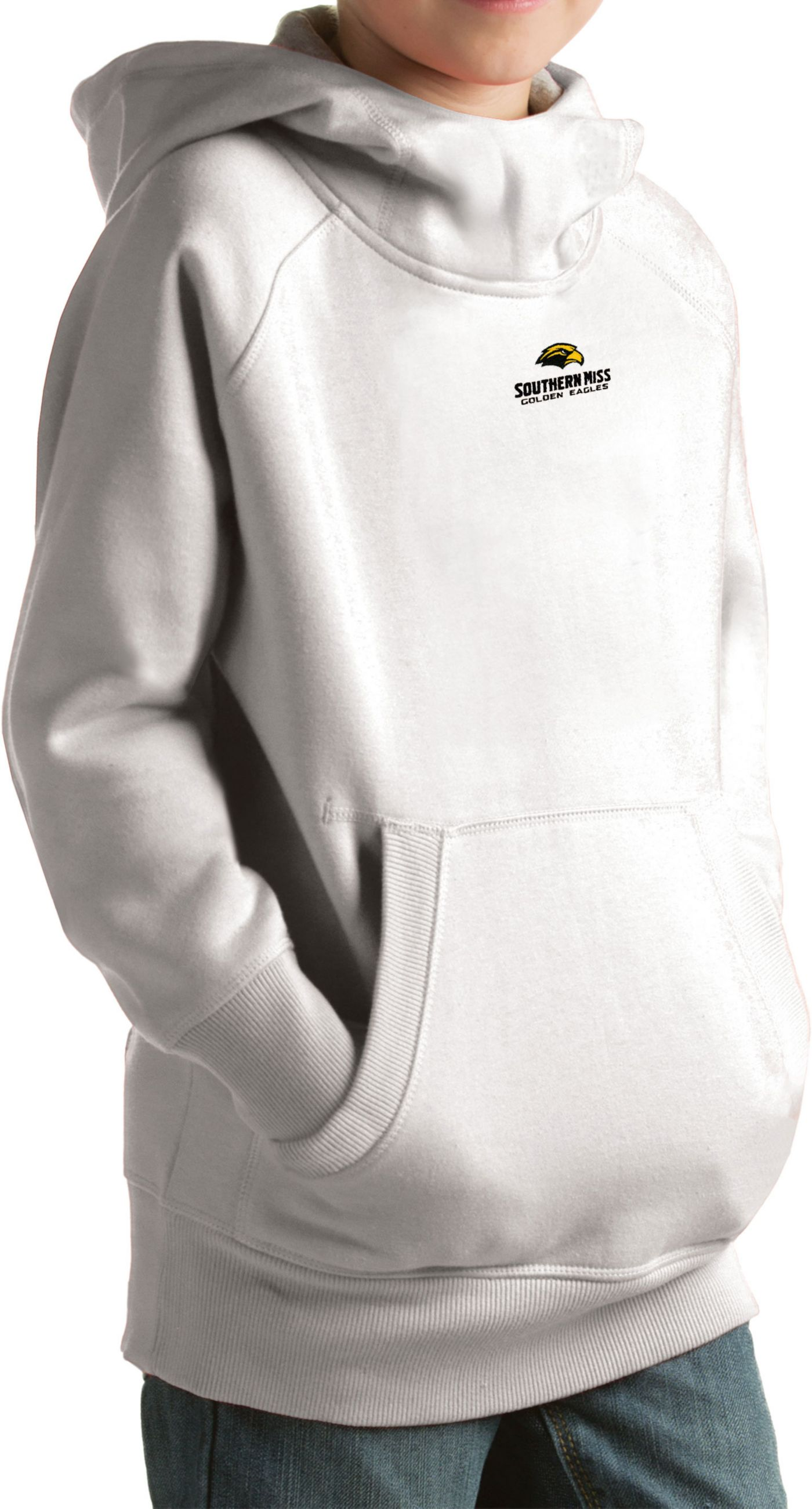Antigua Youth Southern Miss Golden Eagles White Victory Pullover Hoodie