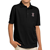 Antigua Youth Stanford Cardinal Black Pique Polo
