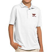 Antigua Youth Virginia Tech Hokies White Pique Polo