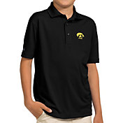 Antigua Youth Iowa Hawkeyes Black Pique Polo