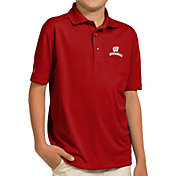 Antigua Youth Wisconsin Badgers Red Pique Polo