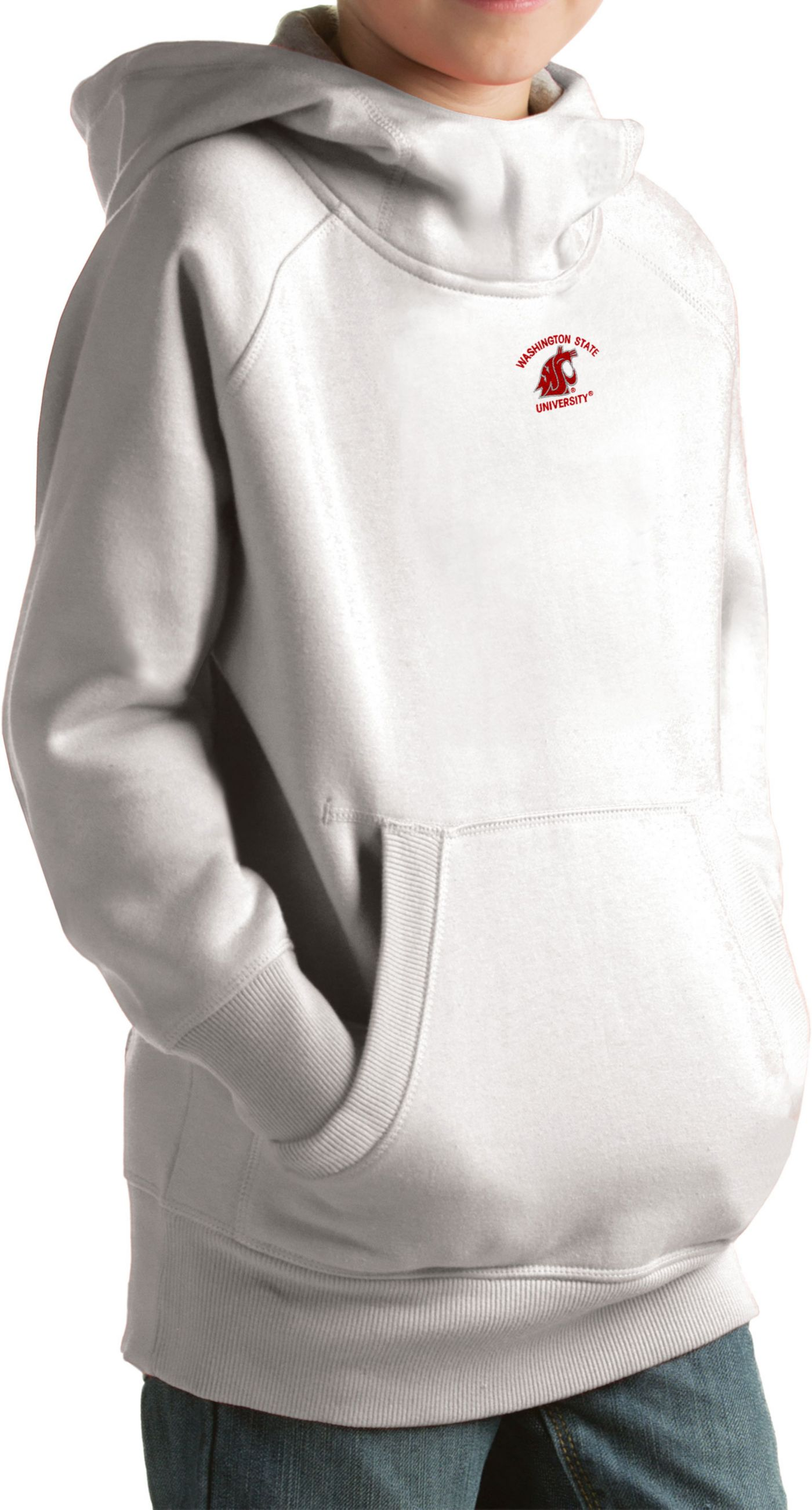 Antigua Youth Washington State Cougars White Victory Pullover Hoodie
