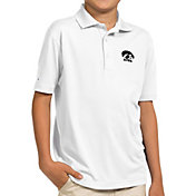 Antigua Youth Iowa Hawkeyes White Pique Polo