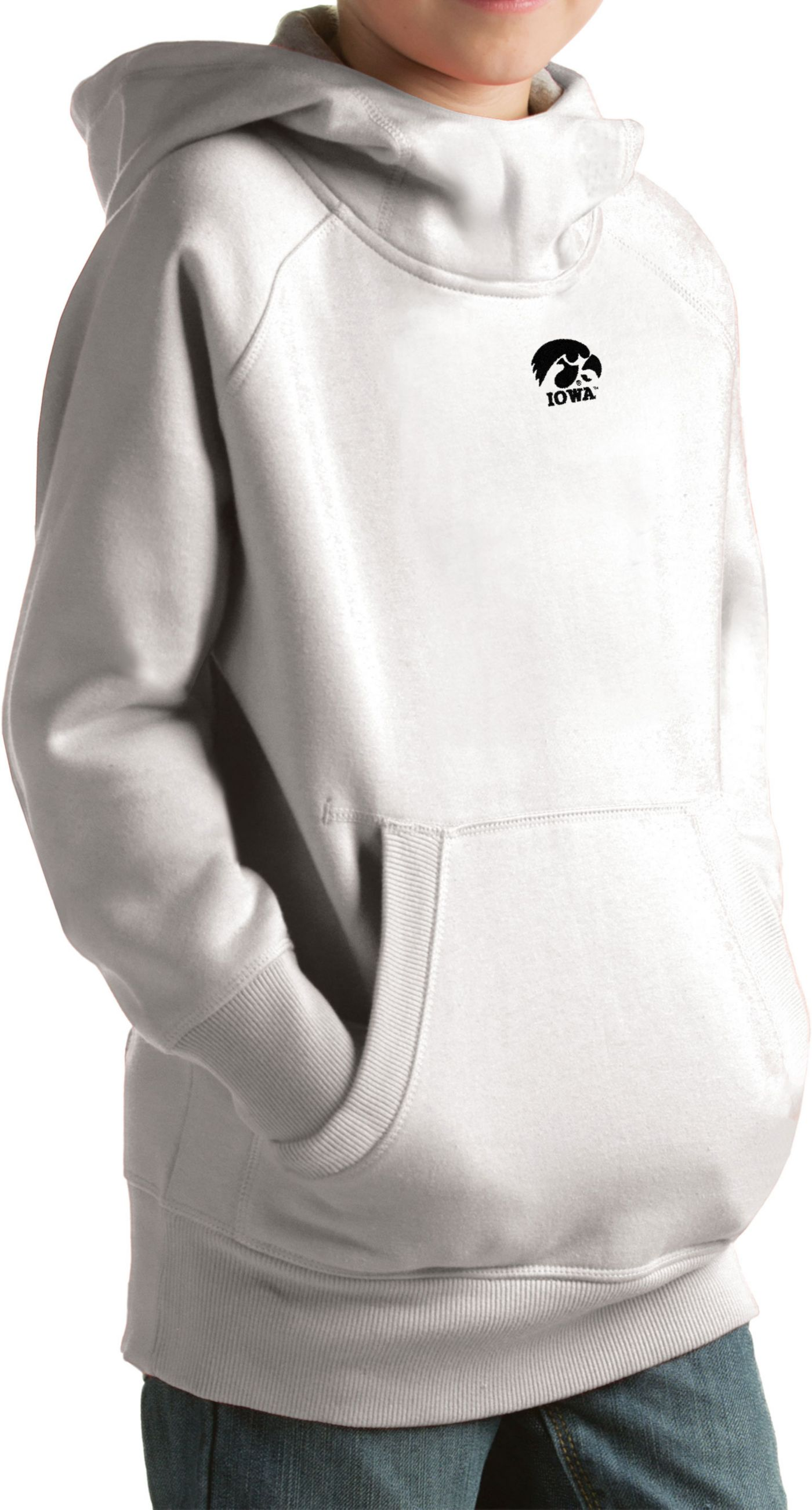 Antigua Youth Iowa Hawkeyes White Victory Pullover Hoodie