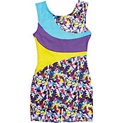 Jacques Moret Girls' Handspring Stars Printed Colorblock Biketard