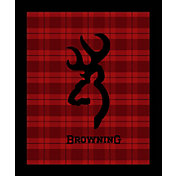 Browning Buckmark Red Plaid Throw Blanket