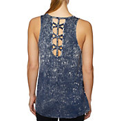 Betsey Johnson Criss Cross Back Bleach Tank Top