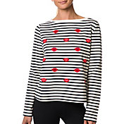 Betsey Johnson Performance Women's Embroidered Kiss Pullover
