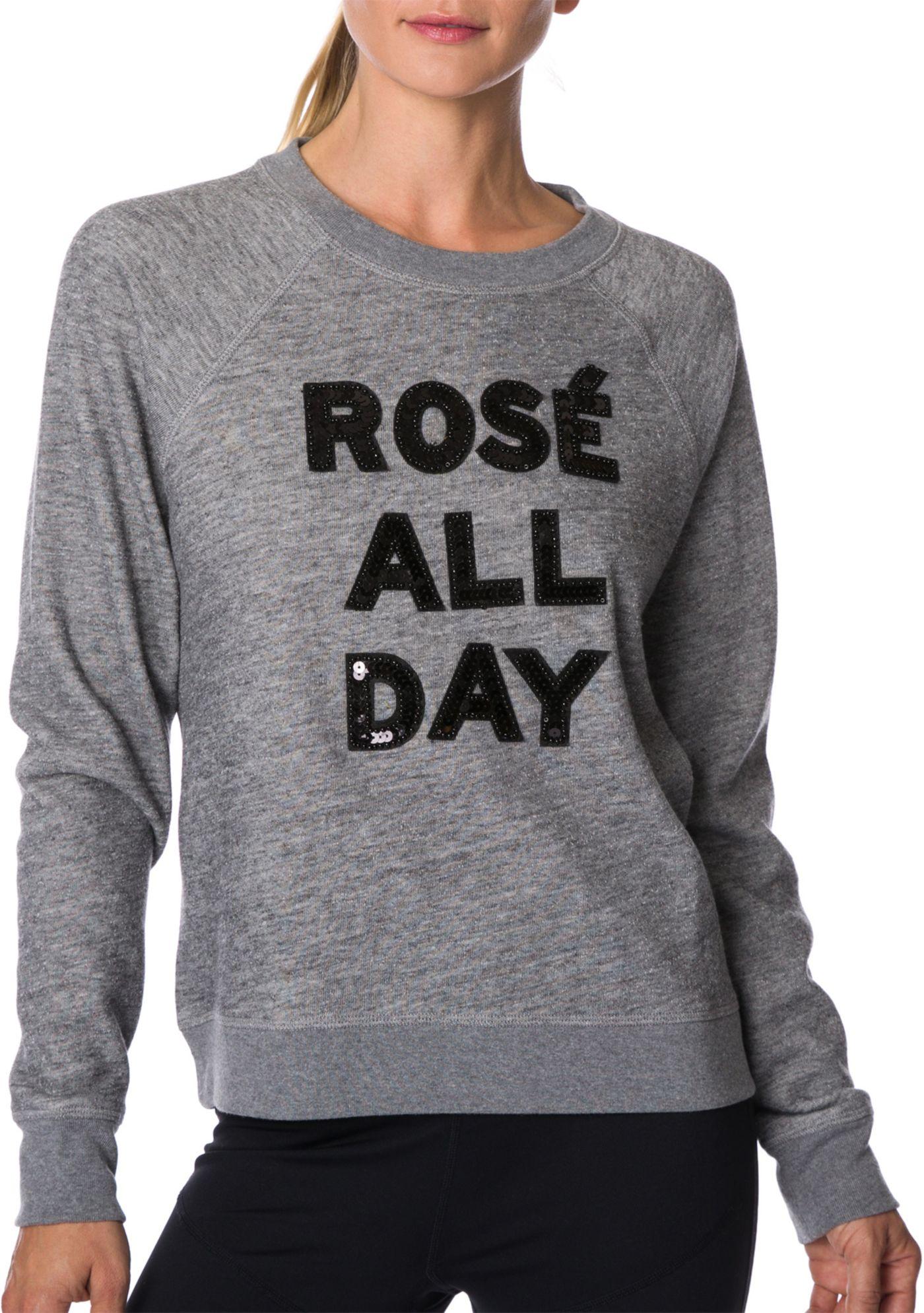 Betsey Johnson Performance Women's Rosé All Day Sequin Sweatshirt