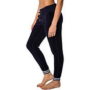 Betsey Johnson Performance Women's Striped Rib Velour Skinny Joggers