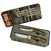 Old Timer Sharpfinger and Trapper Tin Knife Set
