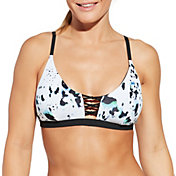 CALIA by Carrie Underwood Women's Lattice Front Printed Bikini Top