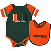 Colosseum Infant Miami Hurricanes Orange Roll-Out Onsie And Bib Set