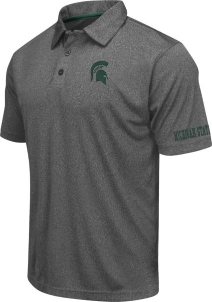 Colosseum Athletics Men's Michigan State Spartans Charcoal Performance Polo