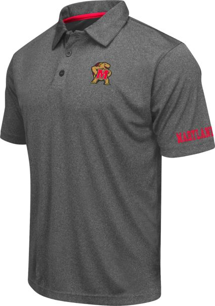 Colosseum Athletics Men's Maryland Terrapins Charcoal Performance Polo