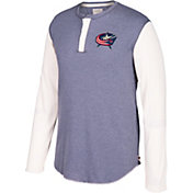 CCM Men's Columbus Blue Jackets Henley Grey Long Sleeve Shirt