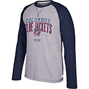 CCM Men's Columbus Blue Jackets Crew Heather Grey/Black Long Sleeve Shirt