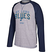 CCM Men's St. Louis Blues Crew Heather Grey/Navy Long Sleeve Shirt