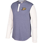 CCM Men's Anaheim Ducks Henley Grey Long Sleeve Shirt