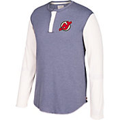 CCM Men's New Jersey Devils Henley Grey Long Sleeve Shirt