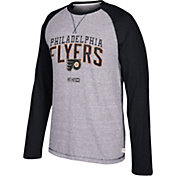 CCM Men's Philadelphia Flyers Crew Heather Grey/Black Long Sleeve Shirt