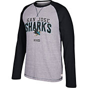 CCM Men's San Jose Sharks Crew Heather Grey/Black Long Sleeve Shirt