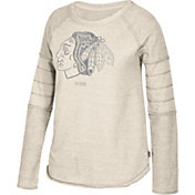 CCM Women's Chicago Blackhawks Grey Raglan Long Sleeve Shirt