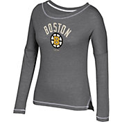 CCM Women's Boston Bruins Paint Chip Grey Long Sleeve Shirt