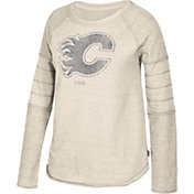CCM Women's Calgary Flames Grey Raglan Long Sleeve Shirt