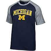 Champion Men's Michigan Wolverines Blue Word Logo T-Shirt